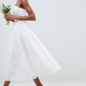 nwt asos bandeau tulle midi wedding dress 0 xs